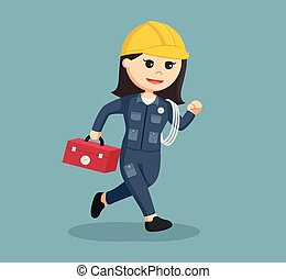female electrician running illustration design
