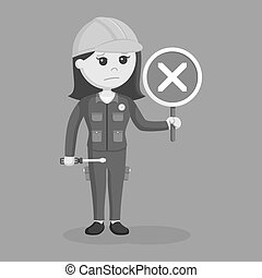 Female electrician with crosswise sign