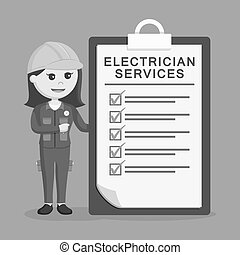 Female electrician with services clipboard