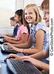 Female Elementary Pupil In Computer Class