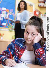 Female Elementary School Pupil Struggling In Class