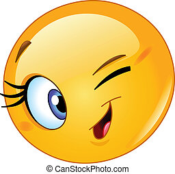 Female emoticon winking
