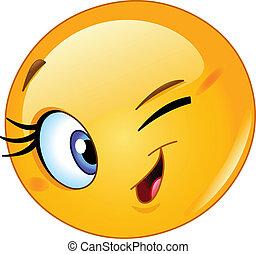 Female emoticon winking