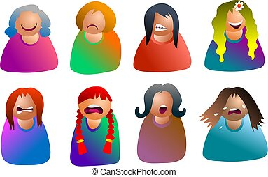female emoticons - people expressing emotions