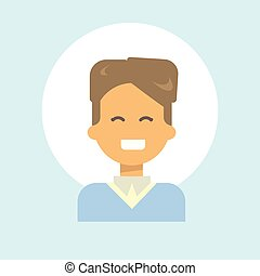 Female Emotion Profile Icon, Woman Cartoon Portrait Happy Smiling Face