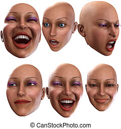 Female Emotions - A simple image of a set of female faces ...