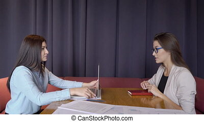 Female employee talks to client sitting at table with laptop.