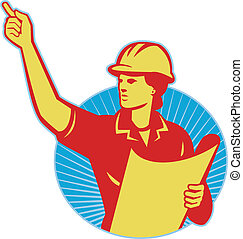 Illustration of a female construction engineer worker with blue print plan pointing finger set inside circle done in retrpo style.
