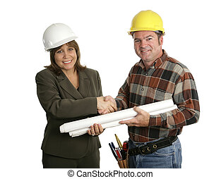 Female Engineer & Contractor Handshake