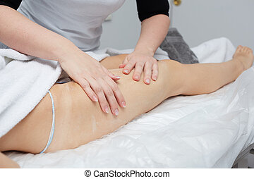 Female Enjoying Relaxing Back Massage In Cosmetology Spa Centre