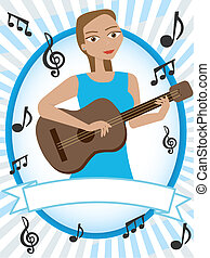 Female entertainer dressed in blue stands in portrait blue text friendly banner vector