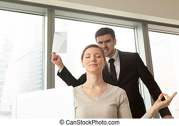 Female entrepreneur ignoring problems at work
