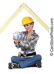 Female entrepreneur on white background