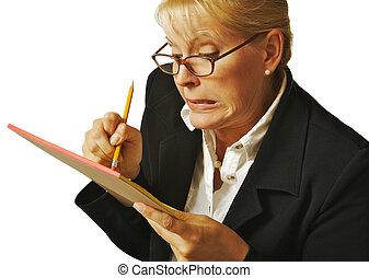Female Erases Mistake on her Notepad on a white background.