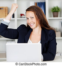Female executive expressing joy of achievement - Image of a...