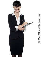 Female executive gathering information