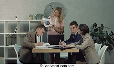 Female executive giving working tasks to employees