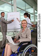 Female executive in wheelchair