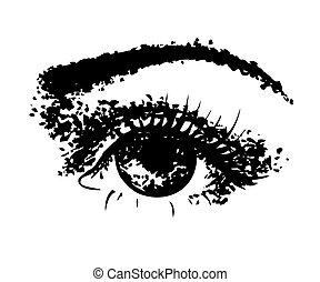 female eye hand drawn ink