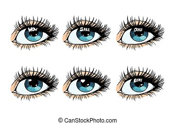 Female eye set glare in the pupil. Pop art retro vector...