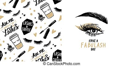 Female eye with long black eyelashes, golden eyeshadow, brows and vector seamless pattern with mascara, coffee cup.