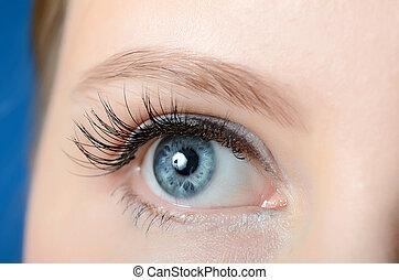 Female eye with long eyelashes close-up - Female eye with...