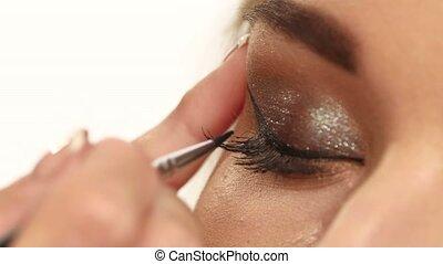 Female eye with long eyelashes. close up