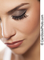 false eyelashes - female eye with long false eyelashes