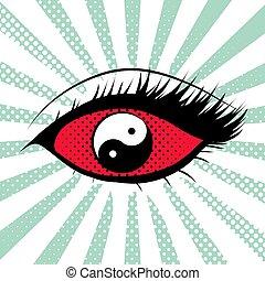 Female eye with yin yang eyeball in pop art style