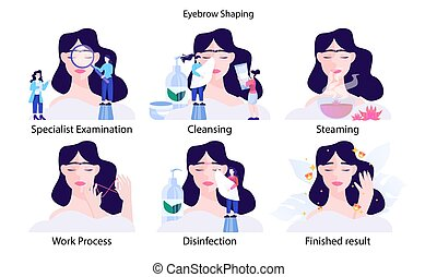 Female eyebrow shaping step. Young woman makig perfect eyebrow with specialist. Beauty routine concept. Flat design. Vector illustration