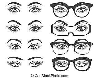 Female eyes and eyes with glasses