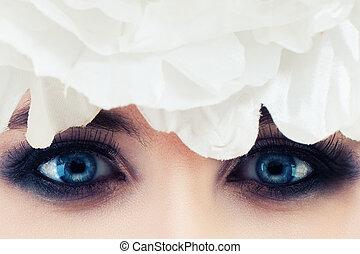Female Eyes Closeup. Smokey Eyes Makeup