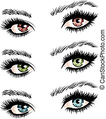 Female eyes - Illustration of woman's eyes of different ...