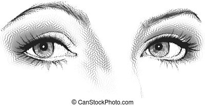 Female eyes look. Black and white vector etching
