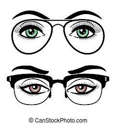 Female eyes with glasses