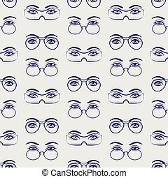 Female eyes with glasses seamless pattern