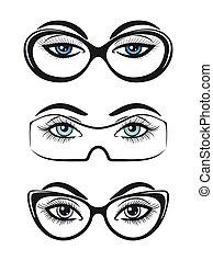 Female eyes with glasses set