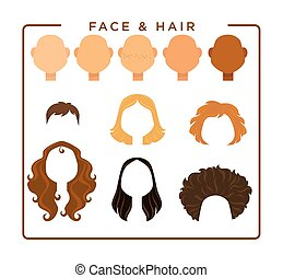 Female face and hair constructor isolated illustrations set