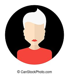 female face avatar, round flat icon with women