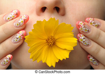 Female face close and nail art - Female face close up c...