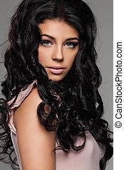 Female Face Closeup. Beautiful Brunette Woman Portrait
