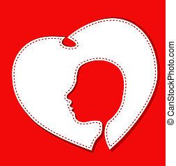 female face head in a white heart vector