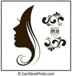 female face silhouette in profile.