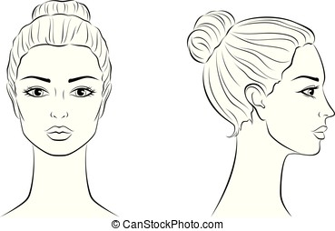 Female Face Vector Illustration Of Women S Head Front And Side