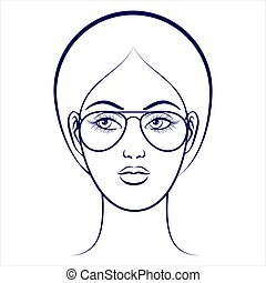 Female face with glasses