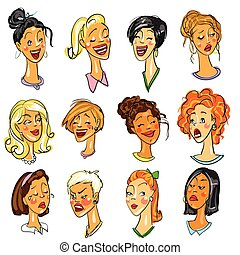Female faces - set of Expressions. Collection, comic...