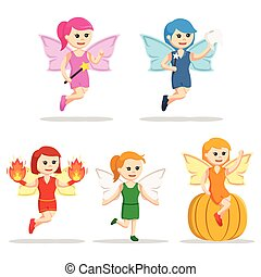 female fairy character set