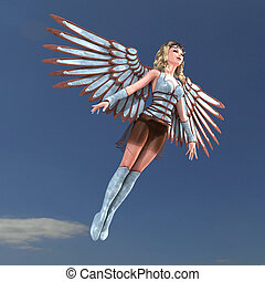 Female Fantasy Angel with huge wings. 3D rendering with clipping path and shadow over white
