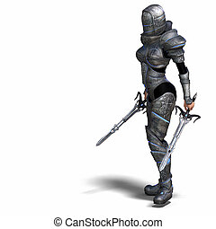 Female Fantasy Knight With Clipping Path over White