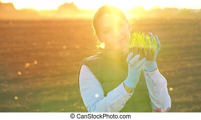 Female farmer examines a sample of seedlings before planting...